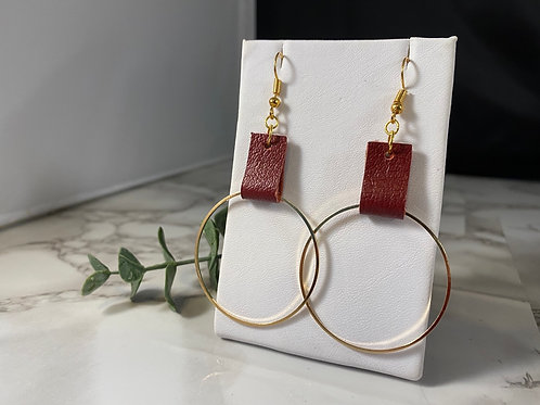 Red Recycled Genuine Leather with Gold Metal Hoop Earrings
