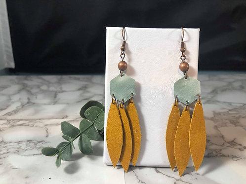 Ice Blue & Honey Gold Genuine Leather Western Style Earrings