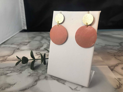 Matte Gold & Dark Blush Pink Genuine Leather Circle Earrings