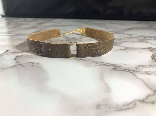Mushroom Brown Genuine Leather & Gold Metal Circle Choker Necklace
