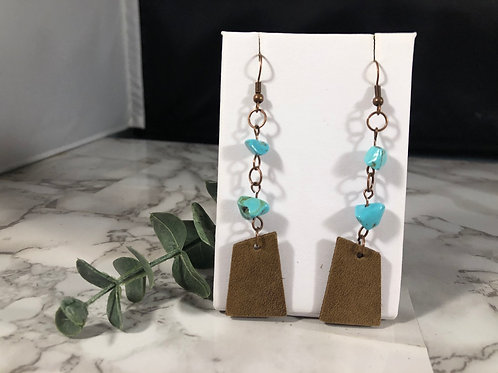 Medium Brown Genuine Leather Earrings with Turquoise Chips