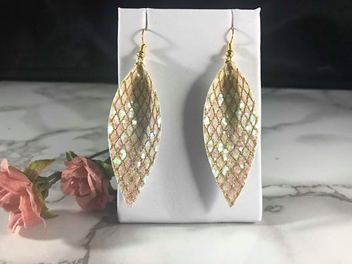 Iridescent Pink Glitter Faux Leather Long Pinched Petal Earrings