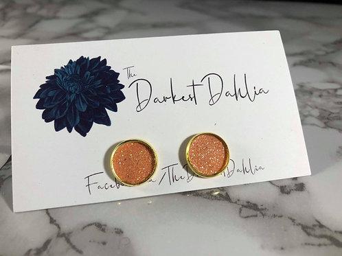 Iridescent Orange Glitter Faux Leather Stud Earrings