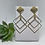Thumbnail: Gold Metal Diamond Earrings with Matte Gold Genuine Leather