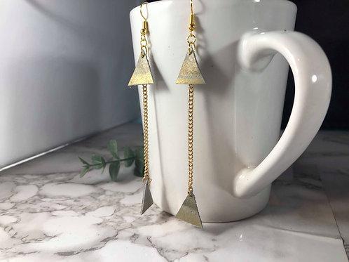 Gray & Gold Genuine Italian Leather Drop Triangle Shoulder Duster Earrings
