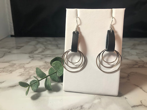 Black Recycled Genuine Leather Loop Earrings with Silver Metal Circles