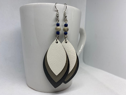 Pearlized Navy, Gray & Cream Genuine Leather Beaded Earrings