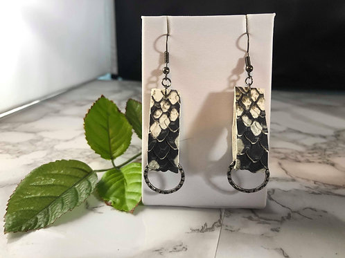 Textured Snake Skin Genuine Leather Loop Earrings with Gunmetal Details