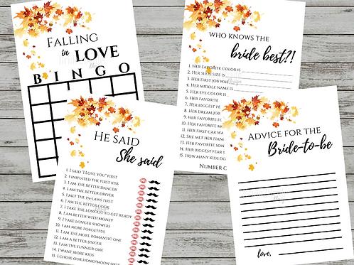 Falling in Love Bridal Shower Games Printables
