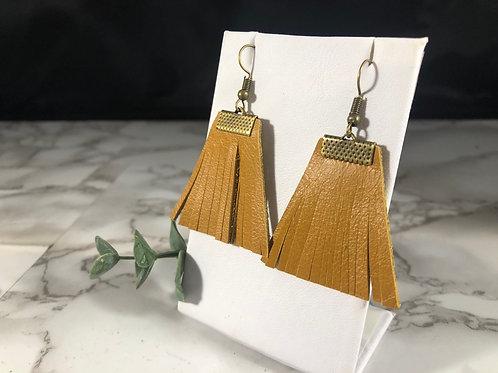 Golden Mustard Fringe Fan Genuine Leather Earrings