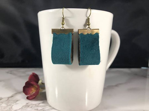 Velvet Dark Teal Double Sided Earrings