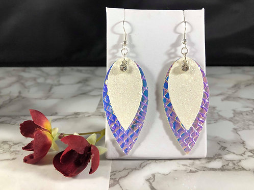 Iridescent Blue/Purple/Pink & White Glitter Faux Leather Rhinestone Earrings