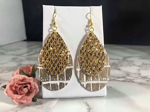 Champagne Gold Crocodile Print Faux Leather & Gold Glitter Faux Leather Earrings