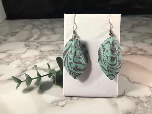 Turquoise & Brown Genuine Leather Backwards Pinched Petal Earrings