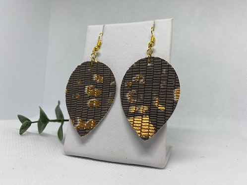 Gray-Brown & Gold Textured Genuine Leather Earrings