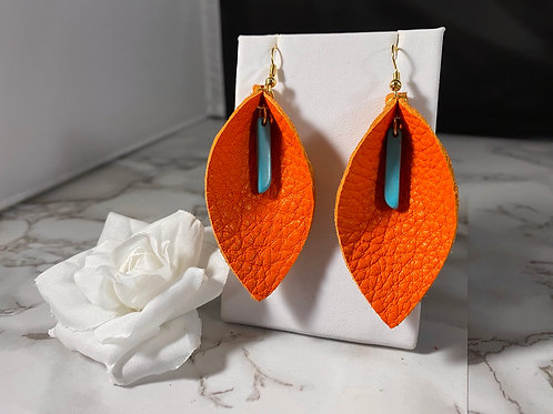 Bright Orange Genuine Leather Earrings with Turquoise Bead Charm