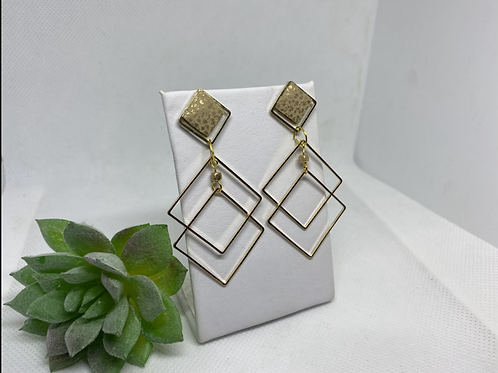 Gold Metal Diamond Earrings with Matte Gold Genuine Leather