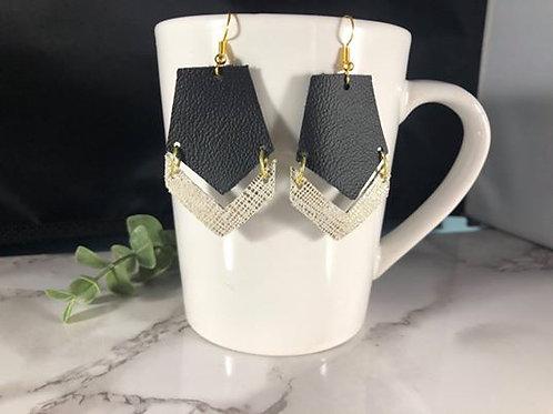 Black & Gold Genuine Leather Chevron Earrings
