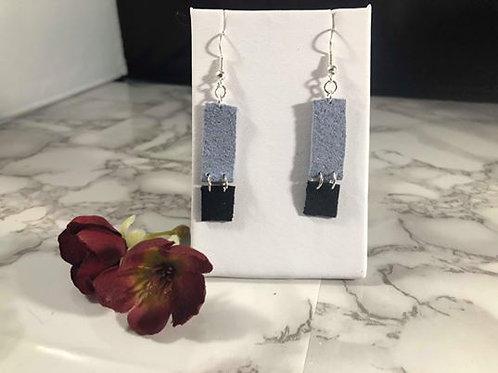 Periwinkle Blue & Black Recycled Genuine Suede Rectangle Earrings
