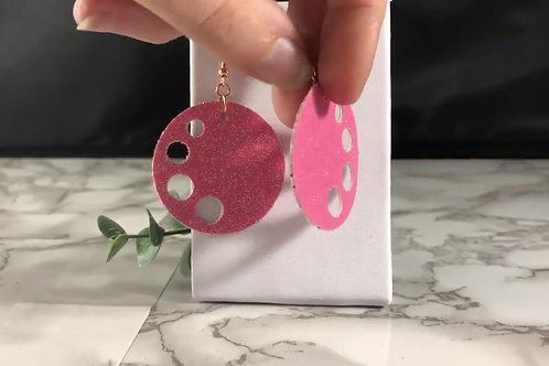 Watermelon Glitter Double Sided Circle Cut-out Earrings