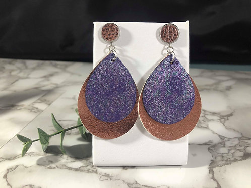 Purple Oil-Slick Iridescent & Metallic Rose Gold Faux Leather Earrings