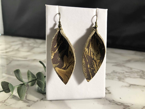 Authentic Realtree Camouflage Recycled Genuine Leather Pinched Petal Earrings