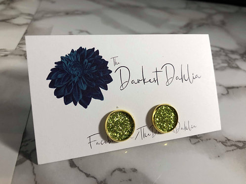 Grass Green Glitter Faux Leather Stud Earrings
