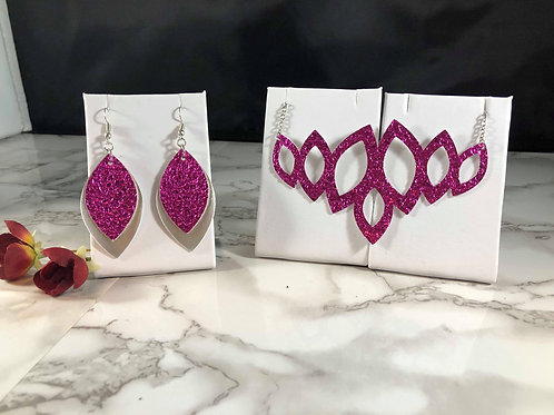 Metallic Magenta Crackle Textured Faux Leather Earrings & Necklace Set