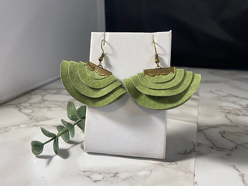 Green Tea Recycled Suede Layered Circle Earrings