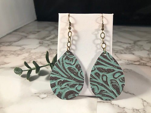 Turquoise & Brown Genuine Leather Teardrop Earrings with Bronze Chain