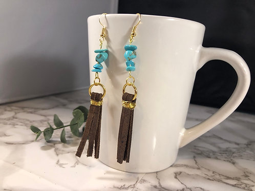 Brown Genuine Suede Tassel Earrings with Gold Metal & Turquoise Colored Beads
