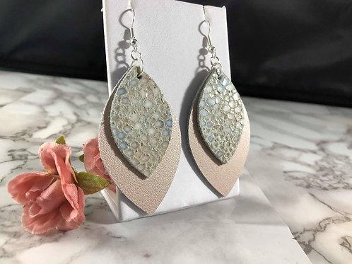 Blush/Rose Gold & Light Blue Genuine Leather Earrings