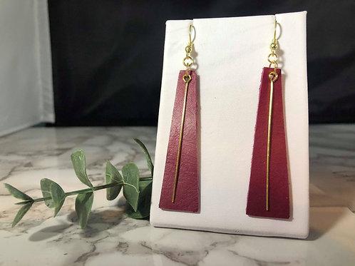 Dark Fuchsia Genuine Leather Earrings with Gold Bar