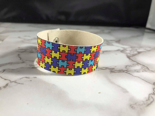 Autism Awareness Puzzle Piece Faux Leather Cuff Bracelet