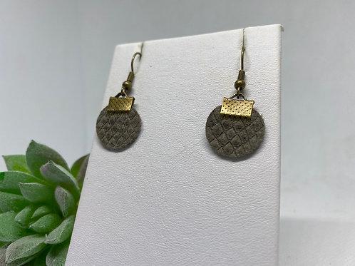Brownish Gray Textured Genuine Leather Mini Circle Earrings