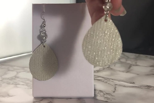Cream/Ivory and Silver Genuine Leather Earrings with Rhinestone