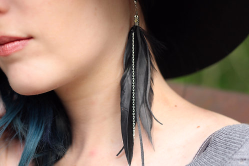 Black Thick Feather Earrings with Silver Chain & Charcoal Gray Genuine Leather