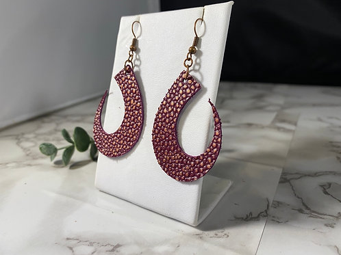 Sangria & Copper Patteren Genuine Leather Crescent Earrings