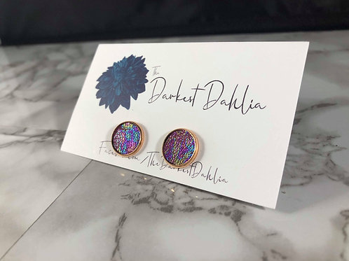 Red Oil Slick Iridescent Rainbow Faux Leather Stud Earrings