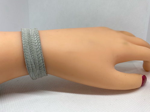Palm Textured Gray Genuine Leather Skinny Bracelet