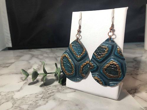Teal & Copper Tortoise Shell Genuine Leather Earrings