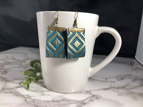 One of a kind, Teal & Gold Genuine Leather Double-sided Earrings