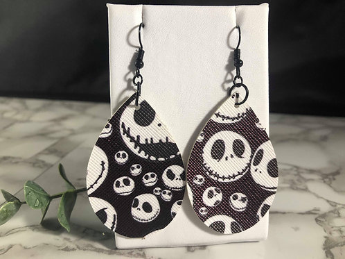 Black & White Halloween Teardrop Earrings