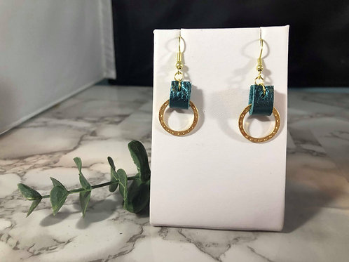 Metallic Teal Genuine Leather & Gold Hammered Metal Earrings
