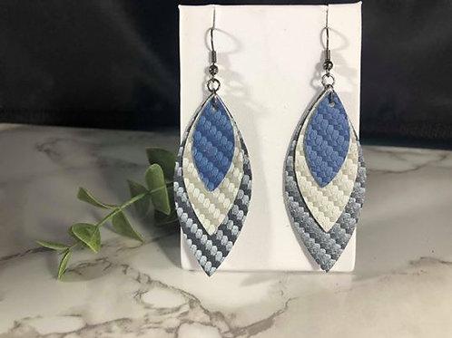 Blue & Silver Carbon Fiber Faux Leather Earrings
