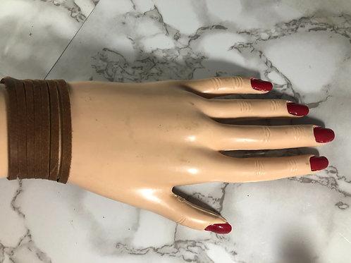 Distressed Medium Brown Genuine Leather Bangle Style Cuff bracelet