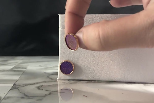 Purple/Pink Iridescent Metallic Faux Leather Stud