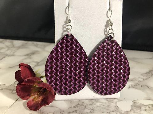 Glossy Dark Purple Basketweave Textured Faux Leather Teardrop Earrings