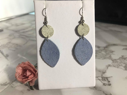 Periwinkle & Cream with Metallic Silver Genuine Suede Earrings