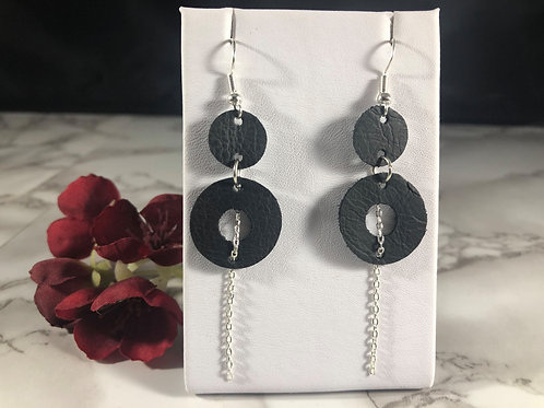 Recycled Black Genuine Leather Double Circle Earrings with Chain